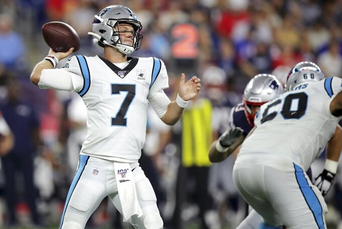 Carolina Panthers quarterback Kyle Allen passes against the New England Patriots in the first half of an NFL preseason football game, Thursday, Aug. 22, 2019, in Foxborough, Mass. (AP Photo/Charles Krupa)