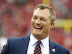 FILE - In this Jan. 19, 2020, file photo, San Francisco 49ers general manager John Lynch laughs before the NFC Championship NFL football game against the Green Bay Packers in Santa Clara, Calif. Lynch is a 2021 finalist for entry into the Pro Football Hall of Fame. (AP Photo/Marcio Jose Sanchez, File)