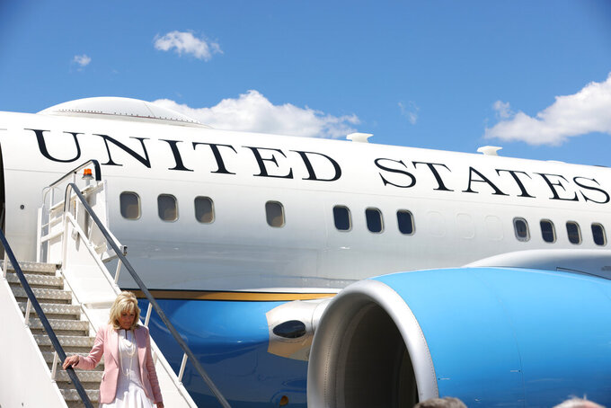 First lady Jill Biden arrives in Charleston, W.Va., Thursday, May 13, 2021. (Oliver Contreras/The New York Times via AP, Pool)