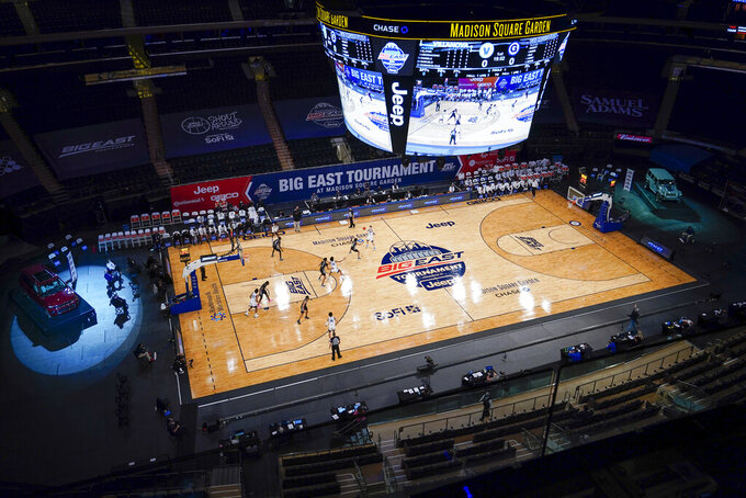 Georgetown plays Villanova during the first half of an NCAA college basketball game in the quarterfinals of the Big East conference tournament, Thursday, March 11, 2021, in New York. (AP Photo/Mary Altaffer)