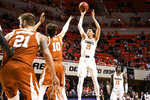 Oklahoma State's Lindy Waters shoots during the first half of the team's NCAA college basketball game against Texas on Tuesday, Jan. 8, 2019, in Stillwater, Okla. (Evan Brown/Tulsa World via AP)