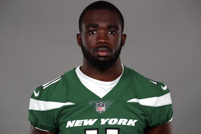 FILE - This Thursday, Sept. 3, 2020, file photo, shows Denzel Mims of the New York Jets NFL football team. Coach Adam Gase announced Friday, Sept. 11,2020, that Mims, a the second-round draft pick, injured his other hamstring at practice Thursday after recently returning from an issue with his other leg that sidelined him for much of training camp. (AP Photo/File)