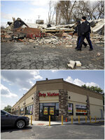 This combination of photos shows members of the Missouri Highway Patrol walking past a building burned to the ground on Nov. 25, 2014, top, and the same location rebuilt with several new businesses on July 24, 2019, in Dellwood, Mo. (AP Photo/Jeff Roberson)