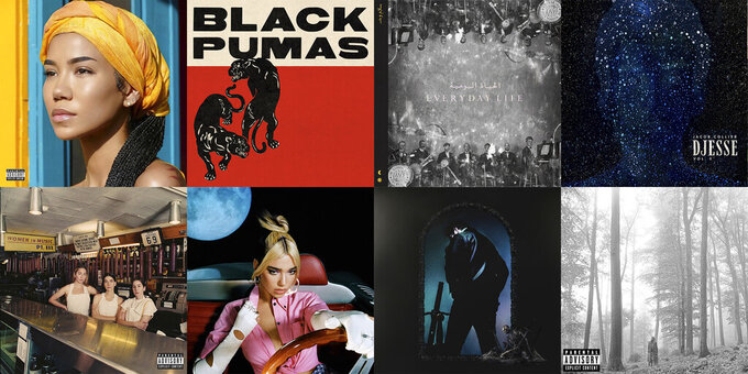 """This combination of photos shows cover art for Grammy nominees for Album of the Year, top row from left, """"Chilombo,"""" by Jhené Aiko; """"Black Pumas (Deluxe Edition),"""" by Black Pumas; """"Everyday Life,"""" by Coldplay; """"Djesse Vol. 3,"""" by Jacob Collier; bottom row from left, """"Women In Music Pt. III,"""" by HAIM; """"Future Nostalgia,"""" by Dua Lipa; """"Hollywood's Bleeding,"""" by Post Malone; and """"folklore,"""" by Taylor Swift. (Def Jam/ATO/Parlophone-Atlantic/Interscope-Decca-Hajanga/Columbia Records/Warner/Republic/Republic via AP)"""