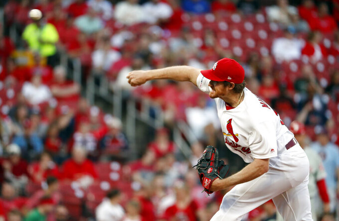 St. Louis Cardinals starting pitcher Miles Mikolas throws during the first inning of a baseball game against the Philadelphia Phillies, Monday, May 6, 2019, in St. Louis. (AP Photo/Jeff Roberson)