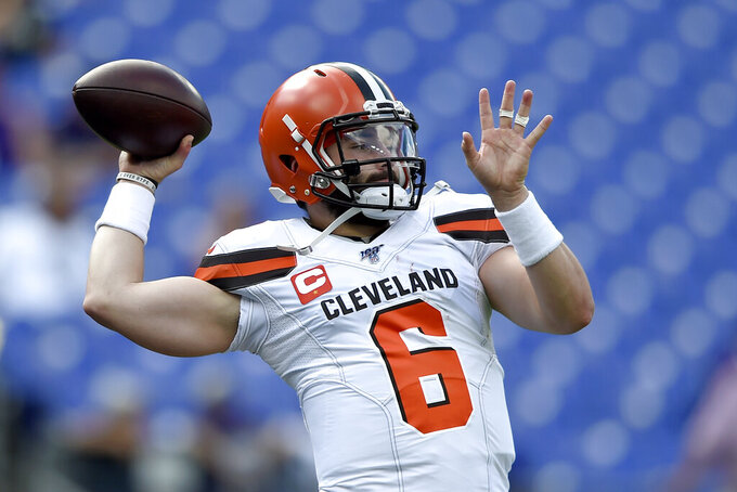 Cleveland Browns quarterback Baker Mayfield works out prior to an NFL football game against the Baltimore Ravens Sunday, Sept. 29, 2019, in Baltimore. (AP Photo/Gail Burton)