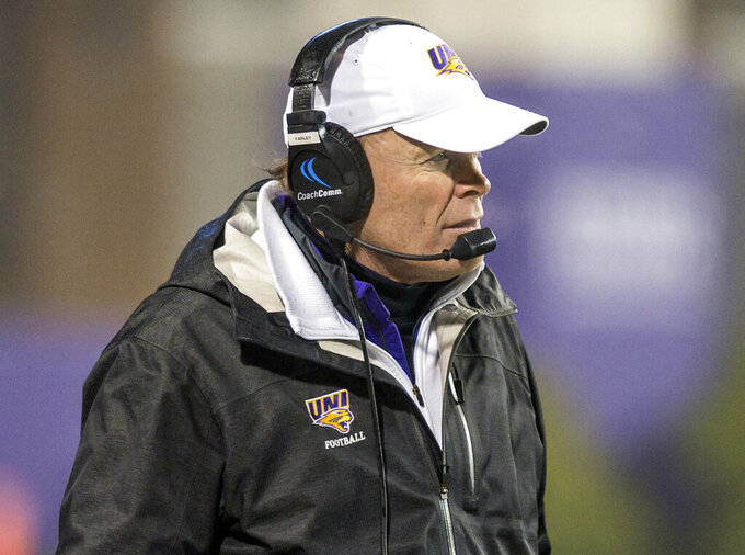 Northern Iowa head coach Mark Farley paces his sideline during the first half of a quarterfinal game against James Madison in the NCAA college Football Championship Subdivision playoffs in Harrisonburg, Va., Friday, Dec. 13, 2019. (Daniel Lin/Daily News-Record via AP)
