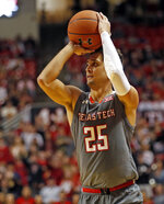 Texas Tech's Davide Moretti (25) shoots the ball during the second half of an NCAA college basketball game against Baylor, Saturday, Feb. 16, 2019, in Lubbock, Texas. (AP Photo/Brad Tollefson)