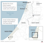 Map locates Gaza Strip and Tel Aviv in Israel, where Israeli says it struck Hamas targets in the Gaza in response to rocket fire on Tel Aviv. ;