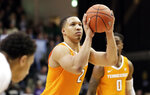 Tennessee forward Grant Williams (2) shoots a free throw against Vanderbilt in overtime of an NCAA college basketball game Wednesday, Jan. 23, 2019, in Nashville, Tenn. Williams scored a career-high 41 points and was 23 for 23 at the free-throw line as Tennessee won 88-83 in overtime. (AP Photo/Mark Humphrey)