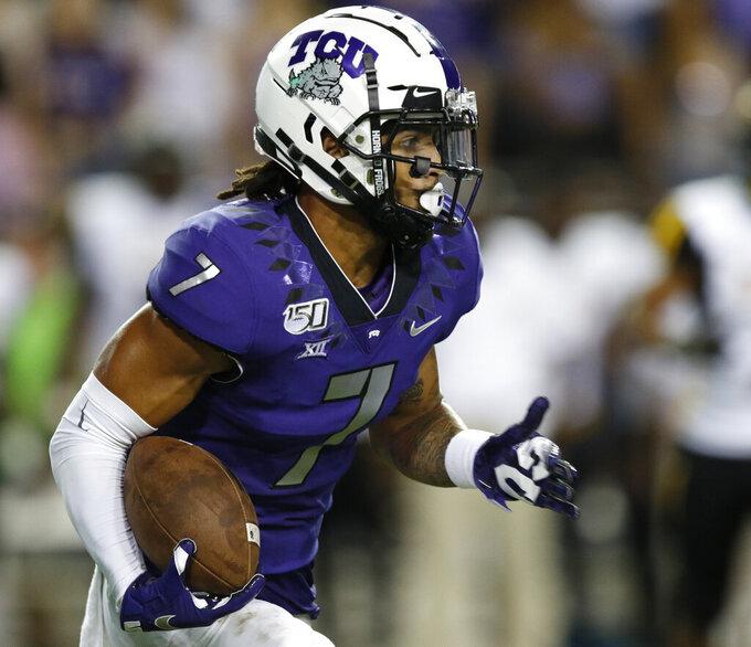 TCU's Trevon Moehrig returns a first-half interception during the team's NCAA college football game against Arkansas-Pine Bluff on Saturday, Aug. 31, 2019, in Fort Worth, Texas. (David Kent/Star-Telegram via AP)