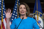 Speaker of the House Nancy Pelosi, D-Calif., meets with reporters at her weekly news conference at the Capitol in Washington, Thursday, May 16, 2019. Pelosi says the U.S. must avoid war with Iran, and she says the White House has