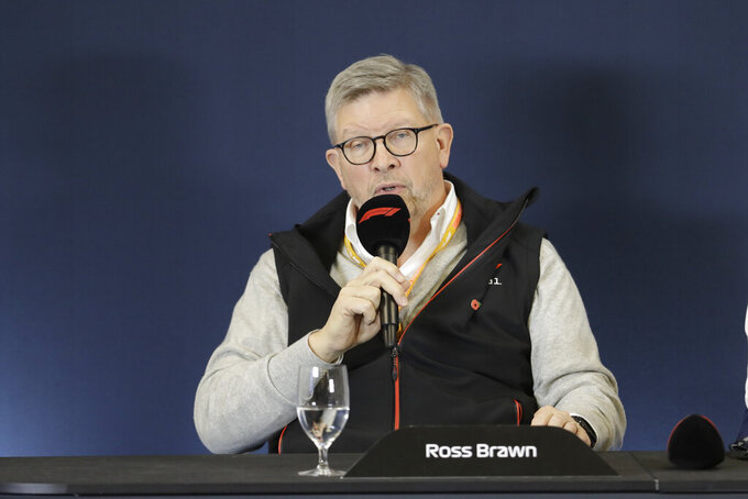 Ross Brawn speaks during a news conference at the Formula One U.S. Grand Prix auto race at the Circuit of the Americas, Thursday, Oct. 31, 2019, in Austin, Texas. (AP Photo/Darron Cummings)