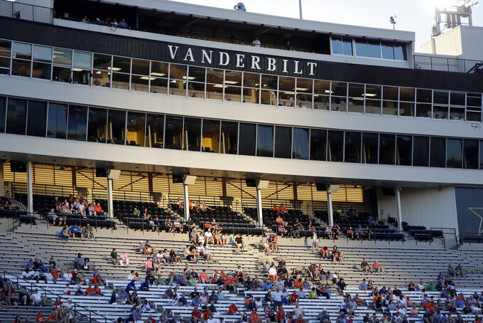 FILE — In this Sept. 15, 2018, file photo, fans sit in Vanderbilt Stadium during an NCAA college football game in Nashville, Tenn. Vanderbilt announced a $300 million project Monday, March 29, 2021, to improve football and basketball facilities and a new Vandy United Fund to raise money for athletics programs. (AP Photo/Mark Humphrey, File)