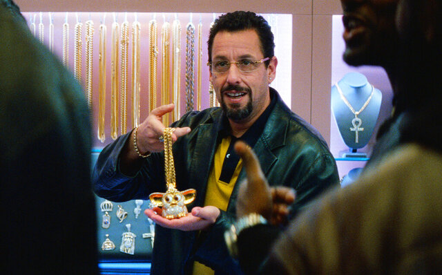 This image released by A24 shows Adam Sandler in a scene from