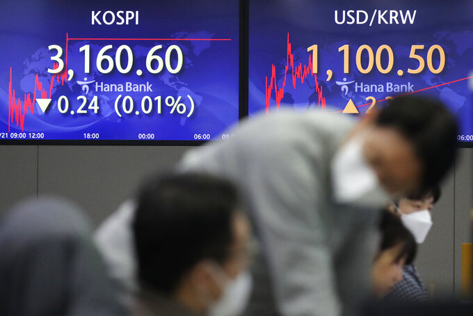 Currency traders talk near the screens showing the Korea Composite Stock Price Index (KOSPI), left, and the foreign exchange rate between U.S. dollar and South Korean won at the foreign exchange dealing room in Seoul, South Korea, Friday, Jan. 22, 2021. Asian stock markets retreated Friday after a resurgence of coronavirus infections in China and a rise in cases in Southeast Asia.(AP Photo/Lee Jin-man)