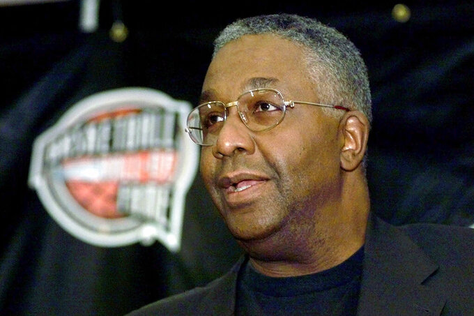 FILE - In this Oct. 1, 1999, file photo, former Georgetown basketball coach John Thompson addresses the media during a news conference for inductees to the Basketball Hall of Fame in Springfield, Mass. Thompson is being remembered not only as a basketball coach but as someone who reshaped lives. He was recalled during a virtual memorial Saturday, Oct. 3, 2020, in which former President Barack Obama was among those who spoke. The 78-year-old Hall of Famer died Aug. 30, (AP Photo/Charles Krupa, File)