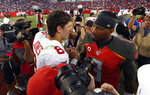 New York Giants quarterback Daniel Jones (8) shakes hands with Tampa Bay Buccaneers quarterback Jameis Winston (3) after the Giants defeated the Buccaneers during an NFL football game Sunday, Sept. 22, 2019, in Tampa, Fla. (AP Photo/Mark LoMoglio)