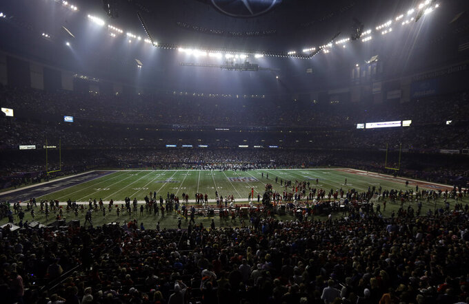 FILE - In this Feb. 3, 2013, file photo, the Superdome is viewed after the lights went out during the NFL Super Bowl XLVII football game in New Orleans. Joe Flacco and the Baltimore Ravens were turning the Super Bowl into a rout when, without even a flicker of warning, the power went off. When the game resumed 34 minutes later, the San Francisco 49ers were the ones playing lights out. (AP Photo/Gerald Herbert, File)