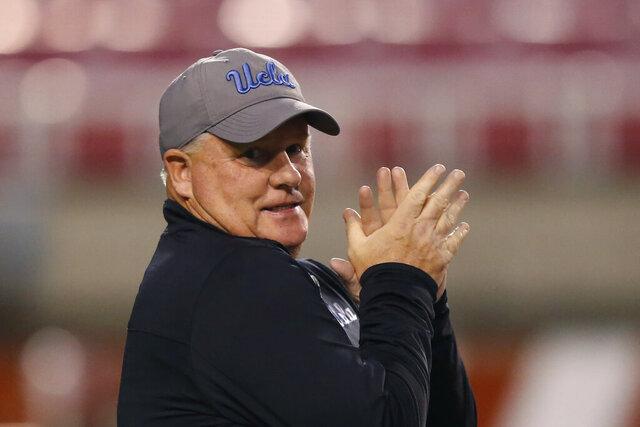 UCLA head coach Chip Kelly looks on before an NCAA college football game against Utah Saturday, Nov. 16, 2019, in Salt Lake City. (AP Photo/Rick Bowmer)