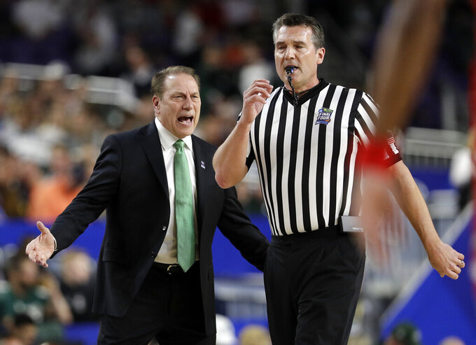 Michigan State head coach Tom Izzo argues a call during the first half in the semifinals of the Final Four NCAA college basketball tournament against the Texas Tech, Saturday, April 6, 2019, in Minneapolis. (AP Photo/David J. Phillip)