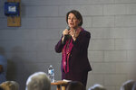 Democratic presidential candidate Sen. Amy Klobuchar, D-Minn., speaks during a campaign rally at the Boys and Girls Club of Truckee Meadows in Reno, Nev., Friday Feb. 14, 2020. (Jason Bean/The Reno Gazette-Journal via AP)