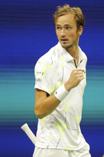 Daniil Medvedev, of Russia, reacts after scoring a point against Grigor Dimitrov, of Bulgaria, during the men's singles semifinals of the U.S. Open tennis championships Friday, Sept. 6, 2019, in New York. (AP Photo/Charles Krupa)