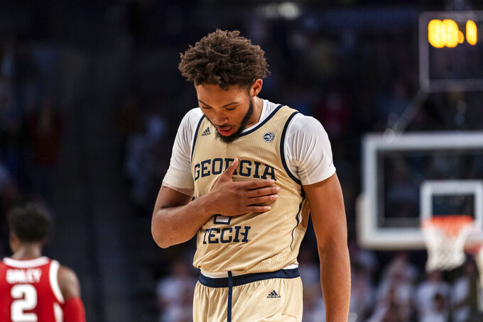 Georgia Tech forward James Banks III (1) reacts in overtime of an NCAA college basketball game against Arkansas, Monday, Nov. 25, 2019, in Atlanta. (AP Photo/Danny Karnik)