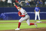 Boston Red Sox relief pitcher Adam Ottavino throws during the ninth inning of a baseball game against the Toronto Blue Jays on Monday, July 19, 2021, in Buffalo, N.Y. (AP Photo/Joshua Bessex)