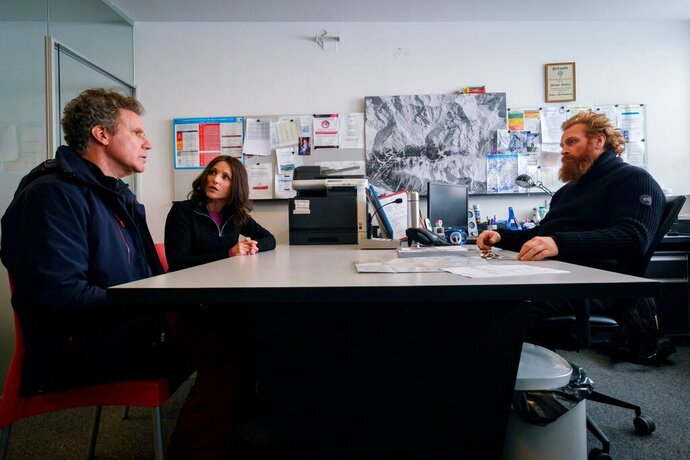 This image released by Fox Searchlight shows Will Ferrell, left, Julia Louis-Dreyfus and Kristofer Hivju in a scene from