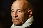 FILE - This photo from Tuesday Jan. 10, 2017, shows Tom Barrack before a meeting with President-elect Donald Trump peaking in New York Barrack, chair of former President Donald Trump's 2017 inaugural committee, was arrested Tuesday, July 20, 2021 in California on charges alleging that he and others conspired to influence Trump's foreign policy positions to benefit the United Arab Emirates. (AP Photo/Evan Vucci, File)