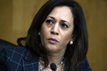 In this June 25, 2020, photo, Sen. Kamala Harris, D-Calif., attends a Senate Homeland Security and Governmental Affairs Committee hearing on Capitol Hill in Washington. Seven months after ending her presidential bid,  Harris is at another crossroads moment in her political career.  (Tom Williams/Pool via AP)