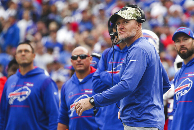 Buffalo Bills head coach Sean McDermott, front right, reacts during the second half of an NFL football game against the Washington Football Team, Sunday, Sept. 26, 2021, in Orchard Park, N.Y. (AP Photo/Jeffrey T. Barnes)