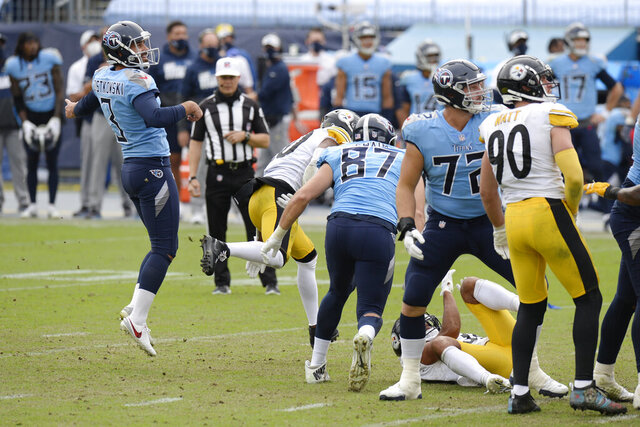 Tennessee Titans kicker Stephen Gostkowski (3) watches as his 45-yard field goal attempt against the Pittsburgh Steelers sails wide in the final seconds of the fourth quarter of an NFL football game Sunday, Oct. 25, 2020, in Nashville, Tenn. The Steelers won 27-24. (AP Photo/Mark Zaleski)