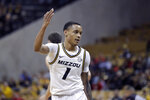 Missouri's Xavier Pinson celebrates after making a 3-point basket during the second half of the team's NCAA college basketball game against Georgia on Tuesday, Jan. 28, 2020, in Columbia, Mo. Missouri won 72-69. (AP Photo/Jeff Roberson)