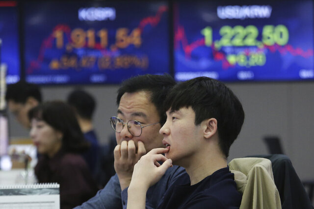 Currency traders watch monitors at the foreign exchange dealing room of the KEB Hana Bank headquarters in Seoul, South Korea, Friday, April 17, 2020. Shares have advanced in Asia after China's economic growth data, while bleak, was better than expected. (AP Photo/Ahn Young-joon)