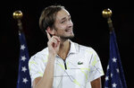 Daniil Medvedev, of Russia, reacts whiles answering questions after losing to Rafael Nadal, of Spain, in the men's singles final of the U.S. Open tennis championships Sunday, Sept. 8, 2019, in New York. (AP Photo/Adam Hunger)
