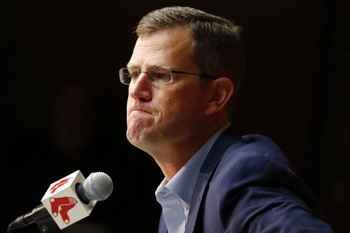 Boston Red Sox President & CEO Sam Kennedy speaks during a news conference at Fenway Park in Boston, Monday, Sept. 30, 2019. (AP Photo/Michael Dwyer)