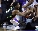 Baylor guard King McClure (3) dives for the ball held by Kansas State forward Dean Wade, right, during the first half of an NCAA college basketball game in Manhattan, Kan., Saturday, March 2, 2019. (AP Photo/Orlin Wagner)