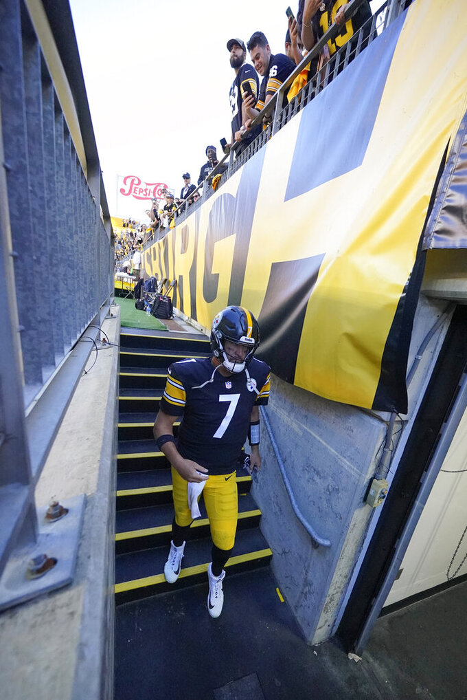 Pittsburgh Steelers quarterback Ben Roethlisberger (7) walks down the stairs to the locker room after losing to the Cincinnati Bengals in an NFL football game, Sunday, Sept. 26, 2021, in Pittsburgh. The Bengals won 24-10. (AP Photo/Gene J. Puskar)