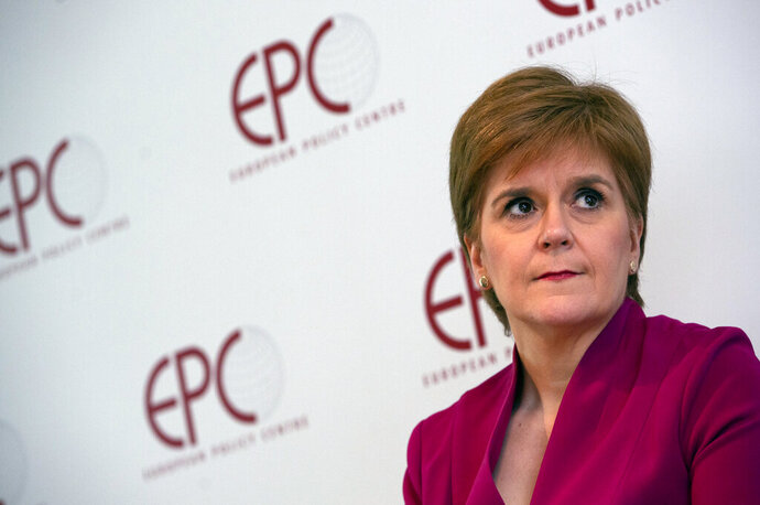 FILE - In this Feb. 10, 2020, file photo, Scotland's First Minister Nicola Sturgeon speaks during a 'Scotland's European Future after Brexit' event at the European Policy Center in Brussels.  Former allies Scotland's politicians Alex Salmond and Nicola Sturgeon have been trading accusations in a feud that seems to be tearing apart their Scottish National Party, as Salmond is scheduled to appear at a Scottish Parliament inquiry Wednesday Feb. 24, 2021. (AP Photo/Virginia Mayo, Pool, File)