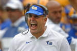 Pittsburgh head coach Pat Narduzzi yells to his team as they play against Ohio during the first half of an NCAA college football game, Saturday, Sept. 7, 2019, in Pittsburgh. Pittsburgh won 20-10. (AP Photo/Keith Srakocic)