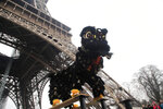Members of the Chinese community dance with costumes to mark the Chinese New Year at the Eiffel Tower in Paris, Saturday Jan. 25, 2020. This year marks the