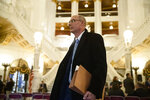 Former state prosecutor Frank Fina walks in the Pennsylvania Capitol after oral argument before the Pennsylvania Supreme Court, in Harrisburg, Pa., Wednesday, Nov. 20, 2019. Fina faces possible law license suspension over his handling of a grand jury witness during the investigation into Penn State's response to complaints about Jerry Sandusky. (AP Photo/Matt Rourke)