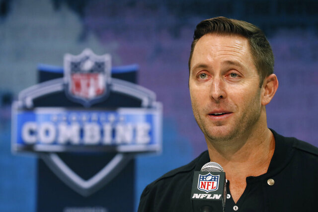 Arizona Cardinals head coach Kliff Kingsbury speaks during a press conference at the NFL football scouting combine in Indianapolis, Tuesday, Feb. 25, 2020. (AP Photo/Charlie Neibergall)