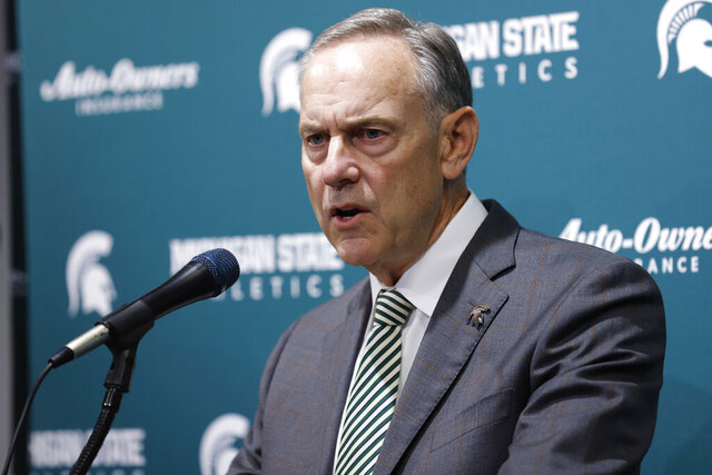 Michigan State's Mark Dantonio talks about his retirement from as the NCAA college football team's coach, Tuesday, Feb. 4, 2020, in East Lansing, Mich. (AP Photo/Al Goldis)