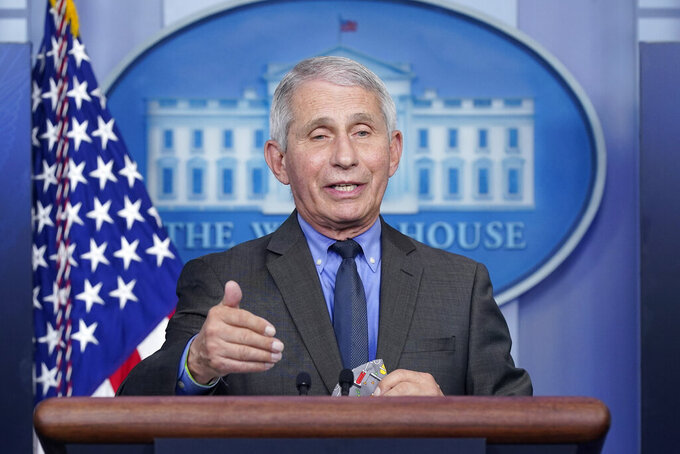 FILE - In this April 13, 2021, file photo, Dr. Anthony Fauci, director of the National Institute of Allergy and Infectious Diseases, speaks during a press briefing at the White House in Washington. Fauci has been a lightning rod since the early days of the pandemic, when he was lionized by the left as a beacon of truth and villainized by the right as a misguided, spotlight-seeking bureaucrat who too often sought to undermine then-President Donald Trump. But since the release of a trove of his emails obtained by news outlets, Republicans have sharply escalated their attacks on the nation's top government infectious diseases expert. (AP Photo/Patrick Semansky, File)