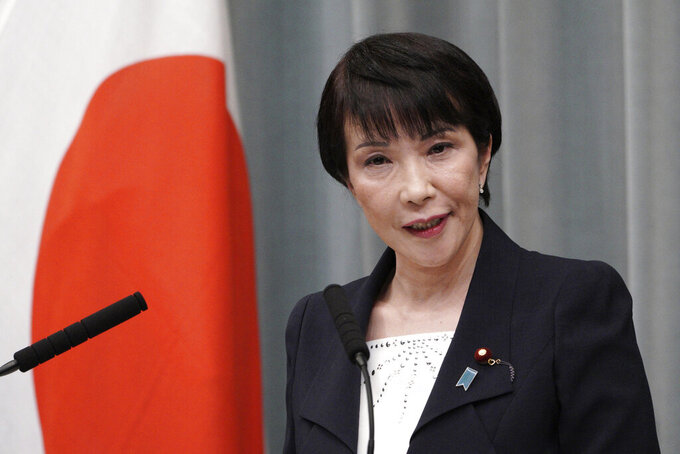 FILE - In this Sept. 11, 2019, file photo, then Internal Affairs and Communications Minister Sanae Takaichi speaks during a press conference at the prime minister's official residence in Tokyo. Takaichi, 60, was to announce her candidacy later Wednesday, seeking a chance to be Japan's first female leader to succeed outgoing Prime Minister Yoshihide Suga though she has ranked low in media popularity surveys. (AP Photo/Eugene Hoshiko, File)