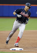 Atlanta Braves' Austin Riley runs the bases after hitting a two-run home run during the second inning of a baseball game against the New York Mets, Friday, June 28, 2019, in New York. (AP Photo/Frank Franklin II)
