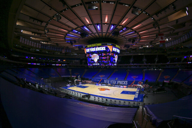 Madison Square Garden is empty of fans, before an NBA basketball game between the Utah Jazz and the New York Knicks on Wednesday, Jan. 6, 2021, in New York. (Wendell Cruz/Pool Photo via AP)
